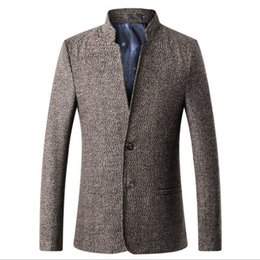 Wholesale Men s Retro Chinese Collar Casual Suits Jacket Men Business China Blazers Men s Large Size Jacket Coat M XL Grey Khaki Burgundy