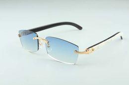 Hot FrameLess Solglasögon Glasögon 3524012 Natural Mix Ox Horn Män och Kvinnor Solglasögon Glasögon Eyeglassessize: 56-18-140mm