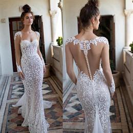 e1a032e6886 Rosa claRa online shopping - 2019 New Berta Mermaid Wedding Dresses  Sweetheart Long Sleeves Lace Appliqued