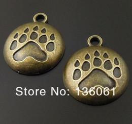 $enCountryForm.capitalKeyWord Australia - Vintage Bronze Dog Paw Print Cameo Setting House Drum Bullet Tree Poker Cross Gear Gold Anchor Charms Pendants For Bracelets