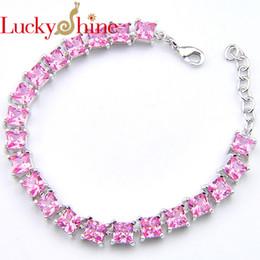 Silver Wholesale Chain Usa Australia - Luckyshine Fashion Fire Square Pink Kunzite Crystal Zirconia Silver Chain Bracelets For Russia Usa Ukraine Wedding Party Gifts C19021501