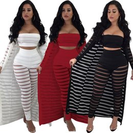 AmericAn leggings pAnts online shopping - women piece set tracksuit striped Crop top leggings cardigan coat sleveless cape pants outfits suit hollow out clothes LJJA2474