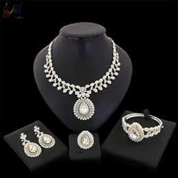 $enCountryForm.capitalKeyWord Australia - Yulaili Hot Sell Gold-color Bride Wedding Jewelry Set In Latest Design Classic Big Crystal Necklace Bracelet Earrings Ring Jewelry Accessory
