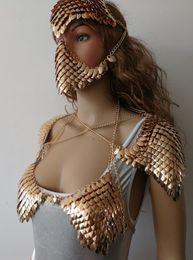 $enCountryForm.capitalKeyWord NZ - New Fashion Wrb1012 Scalemail Mermaid Fish Scales Head Chains Layers Scale Chainmail Gold Fish Scale Head Hair Chains Jewelry J190526