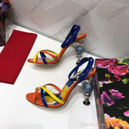 $enCountryForm.capitalKeyWord Australia - Early spring catwalk chunky high-heeled sandals, Women shoes with multi-color stitching ,heel-height 1oyo