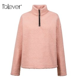 korean hoodie ladies UK - Women Casual Loose Pink Hoody Sweatshirts Female Autumn Winter Warm Shaggy Hoodies Lady Pullover Women's Korean Tops Talever