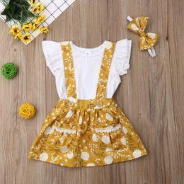 $enCountryForm.capitalKeyWord Australia - Baby girls princess outfits kids falbala sleeve T-shirt+lace floral printed mustard suspender skirt 2pcs sets Children Clothing Sets Y2354