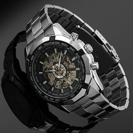 man wrist watch hand Australia - 2018 Stainless Steel Hand-winding Hollow Automatic Sport Mechanical Wrist Watch Men J190615