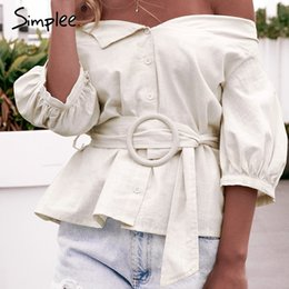Off Shoulder Blouse Cotton Australia - Simplee Off Shoulder Buttons Women Shirt Blouse Summer Lantern Sleeve Sashes Cotton Blouse Female Casual Vintage Tops And Blouse Y190411