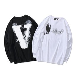 $enCountryForm.capitalKeyWord Australia - Vlone Long Sleeve T shirt White Black Angel Printed Casual T-shirt For Men Hip Hop Top A$AP Rocky NCI0611