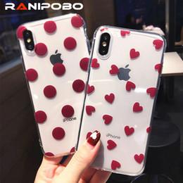 Love Heart Phone Australia - Cute Cartoon Love Heart Wave Point Transparent Phone Case For iphone 6 6s 7 8 plus X XS XR XS Max Soft TPU Dots Back Cover
