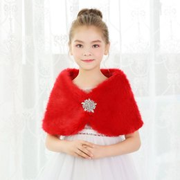 Korean hair accessories red online shopping - 2019 new red rabbit hair cute girl hair shawl children s clothing fashion Korean cloak children s dress accessories red shawl