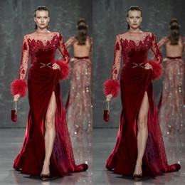 Modern velvet evening dress online shopping - Burgundy Evening Dresses Velvet Feather Beads Lace Split Prom Gowns Plus Size Formal Party Dress Robes De Soirée