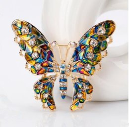 wholesale rhinestone brooches Australia - Butterfly rhinestone drop oil brooch Japan and South Korea high-end wild color drip butterfly brooch New animal female brooch