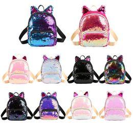 $enCountryForm.capitalKeyWord NZ - Cute Sequins Cat Ear Travel Backpacks Women Casual Shoulder School Bags Multiple Colour Preppy Style Small Knapsack Rucksack New hx0102