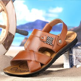 $enCountryForm.capitalKeyWord Australia - 2019 Men Slippers Flats Shoes Summer Breathable Shoes Man Slippers High Quality Genuine Leather Men's Solid Color Beach Sandals Q-518