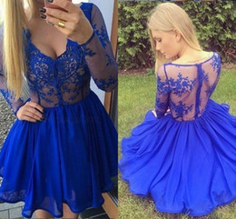 cheap sheer top prom dress Australia - Sexy See Though Top Short Prom Dresses With Long Sleeve Lovely Lace Chiffon Piping Cheap Homecoming Dress Graduation Dresses Blue 2019