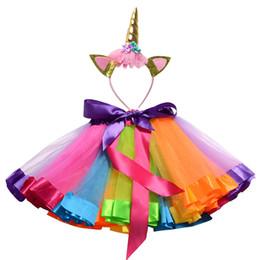 $enCountryForm.capitalKeyWord Australia - Free Unicorn Headband Princess Tutu Skirt 12M-8T Baby Girls Clothes Rainbow Kids Party Tutu For Girls Skirt Children Ball Gown