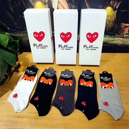 Sock Packs NZ - 5 Pairs Box Packed Short Socks Exquisite Embroidery Red Heart Logo Socks For Women And Men In Spring Summer