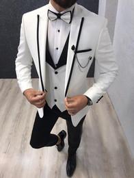 Wholesale Fashion One Button White Purple Pink Green Wedding Men Suits Peak Lapel Three Pieces Business Groom Tuxedos Jacket Pants Vest Tie W1011