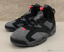 basketball iron NZ - Hot Sale Authentic Air Paris 6 PSG Iron Grey Basketball Shoes 6s 3M Retro Infrared 23-Black VI 75 PANAME Sports Sneakers CK1229-001 With Box