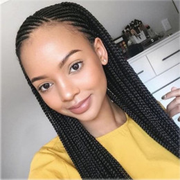 Glueless Wig Braids For Australia - Glueless Crochet Braids Senegal Box Braids Hair HipHop Afro Wig Lace Front Wigs for Black Women Heat Resistant Synthetic Wigs with Baby Hair