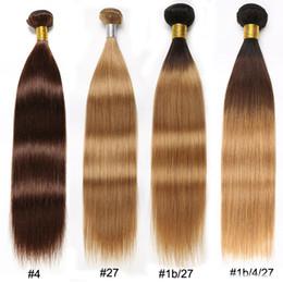Discount raw indian straight virgin hair - #4#27 Straight Hair Bundles Ombre #1b 4 27 #1b 27 Brown Blonde Straight Brazilian Hair Weave Bundles Peruvian Malaysian