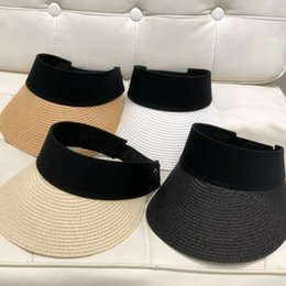 cd9ac39f Ladies adjustabLe straw hats online shopping - Woman Solid Straw Visor Cap  Fashion Lady Sunscreen Hats