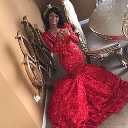 Red Formal Jacket Dress Sequins Australia - 2019 Fashion Red Sequin Appliques Prom Dresses V Neck Long Sleeve Formal Wear Sweep Train Evening Party Gowns Evening Dresses