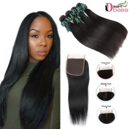 Discount remy hair weft closure - Mink Brazilian Straight Hair Bundles With Closure Human Virgin Hair Straight Weaves With 4x4 Lace Closure Brazilian Remy
