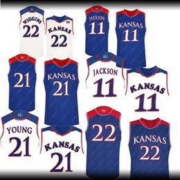 214dfe4a8 Men 21 Embiid Jersey 22 wiggins 11 Josh Jackson 13 Wilt Chamberlain  Basketball Jerseys bule white Kansas Jayhawks jersey