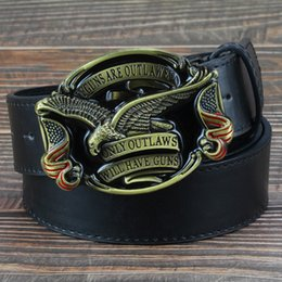 gun men belt buckle UK - Fashion men jeans belt golden eagle belt US flag hawk American emblem Have Guns letter buckle cowboy waistband