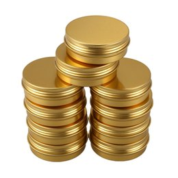 $enCountryForm.capitalKeyWord NZ - 40pcs 100ml Cans Screw Top Containers Aluminum Round Cans Travel Tins Storage Jar Food Tins Containers Tins With Lids,Gold