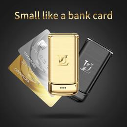 Small Screen mobile online shopping - Original Ulcool V9 Metal Body Luxury Golden Flip Phone Small Screen Bluetooth Dialer FM Radio Anti lost Super Mini Mobile Cell Phone