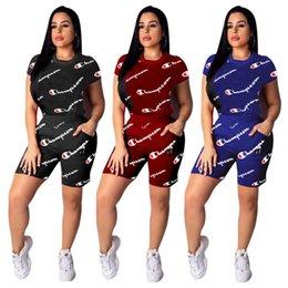 Summer Sportswear Suit Australia - Women Champions Letter Tracksuit Short Sleeve T shirt + Shorts Pants Summer Outfits 2 Piece Sportswear Joggers Clothes suits hot S-2XL C3252