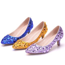 $enCountryForm.capitalKeyWord Australia - Crystal Queen Women Shoes Pumps Handmade Female Noble Diamond Wedding Shoes Sexy Women's High Heels Dress Shoes 5CM
