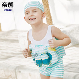 child float vest Australia - Kids Boys Float Swimming Suits Vest Cartoon Striped One-piece Swimwear Children Detachable Kids Swimming Training Buoyancy