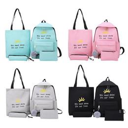 $enCountryForm.capitalKeyWord Australia - 4pcs set Letter Print Women Shoulder Top-handle Pen Bags Clutch Backpacks Cute Girl Wild Multicolor System School Bag