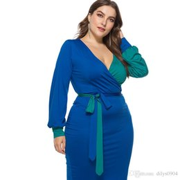 cotton lantern Australia - autumn Women's Long Sleeve Sexy Lantern Dresses in Europe and America in 2019 Middle-skirt cotton Splicing Color collision A word skirt
