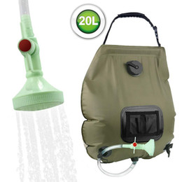 hose bath UK - 20L Outdoor Shower Bag Solar Energy Heated Water Bag Camping Hiking Bathing Portable Water Storage Bags with Hose Shower Head