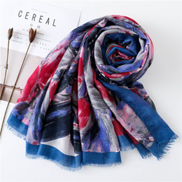 cotton beach wrap NZ - Cotton Shawls Wraps Ethnic Wind Scarf Women Wild Sun Shawl Female Color Rendering Scarf Beach Towel Dual-use Long Tassels Large Scarf Spot