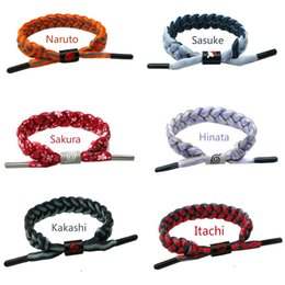 anime props NZ - 6 Colors Anime Naruto Sasuke Itachi Kakashi Adjustable Shoelace Rope Bracelets Wristband Bangles Cosplay Props Accessories Gift