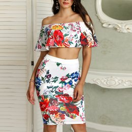 0ed050c4ea Two piece pencil skirT crop Top online shopping - Floral Print Sexy Piece  Dress Summer Ruffle