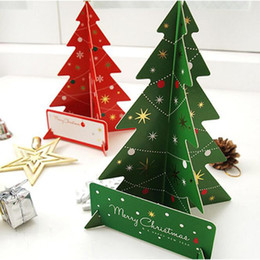 Xmas Cards 3d Australia - Merry Christmas Decorations Cards 3D Christmas Tree Shape Greeting Card New DIY Red Green Xmas Party Gift Card with Envelope