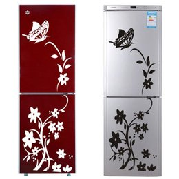 black glasses sticker Australia - High Quality Creative Refrigerator Black Sticker Butterfly Pattern Wall Stickers Home Decoration Kitchen Wall Art Mural