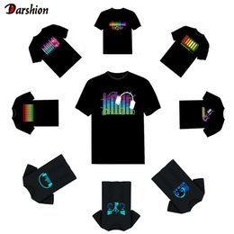 sound activated light up shirts Canada - Sound Activated LED T Shirt Light Up and down Flashing Equalizer Men's Glowing TShirt