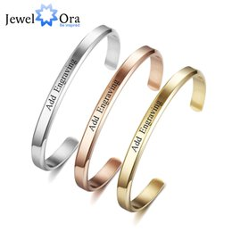 Name Plate Jewelry Sets Australia - 6mm Width Personalized Gift Engraved Name ID Bangle For Women Jewelry Stainless Steel Bracelets & Bangles ( BA102300)