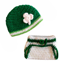 crochet hats spring summer UK - Crochet Newborn Green Shamrock Outfit, ,Handmade Knit Baby Boy Girl St. Patrick Day Hat and Diaper Cover Set,Infant Photo Prop