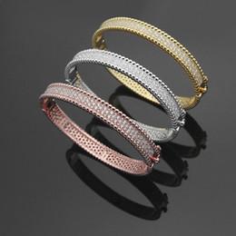$enCountryForm.capitalKeyWord Australia - New Arrival Fashion Lady Brass Double Rows Beads Full Diamond 18k Gold Plated Engagement Wedding Bead edge Bangle Bracelets 3 Color
