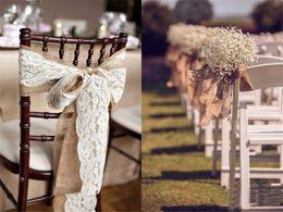 Venta al por mayor de 5 unids / lote 240 CM * 15 CM Burlap de yute vintage con rollo de encaje para la decoración de la boda en la mesa del corredor de la silla marcos de la decoración del hogar